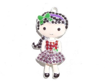52mm Dark Haired Little Girl Rhinestone Pendant, N4