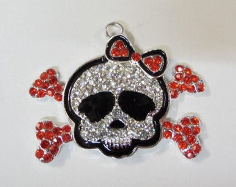 48*34mm, Red Skull and Crossbones Rhinestone Pendant, Chunky Necklace Beads, P66