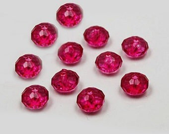 12mm, 50CT, Transparent Dark Pink Rondelle Beads, Acrylic Faceted Beads. M30
