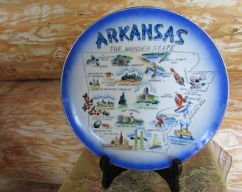 Arkansas The Wonder State Souvenir Plate 1956