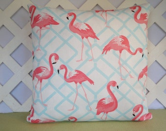 Coral Flamingos Pillow Cover with Blue White / Flamingo Pillow / Coral Blue Pillow / Accent Pillow / 18 x 18 Pillow