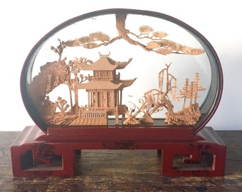 Vintage Asian Hand-Carved Cork Art Diorama with Herons, Pagoda and Trees