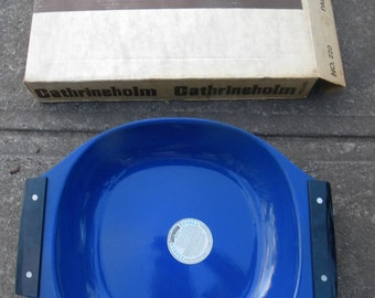 great shape clean vintage never used o box cobalt blue CATHRINEHOLM ENAMEL paella BAKING pan