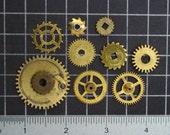 Mixed Lot of Vintage Brass Gears, Antique Clock Movement Steel Gears, Misc Brass & Steel Clock Wheels and cogs Steampunk Art Supplies 03968