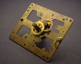 Large Brass and Sheet Metal Clock Mechanism Parts, Some with Gears, for Steampunk Costumes, Industrial Sculpture, & Mixed Media 03843