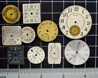 Mixed Lot of 10 Vintage round and Square Watch Faces, Dials, Clock Fronts, Painted or Enameled Pocket Watch Faces Steampunk Supplies 04182