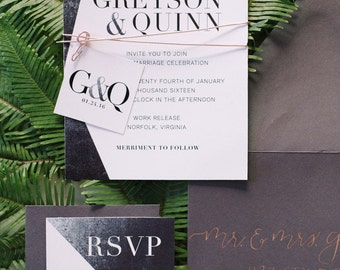 Modern Industrial Black White and Gold Wedding Invitation Suite