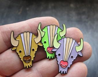 Soft Enamel Bison Pin Enamel Buffalo Pin - Brown Earthy Tones