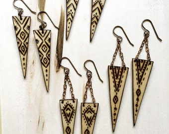 Choose One pair. Wood Burned Earrings
