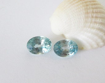 Natural Blue Zircon  Pair 2.65cttw