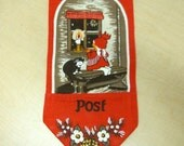 Vintage Swedish POST Textile Wall-hanging, Jute, Christmas Card Holder, Stildukar