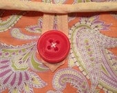 Cotton Fabric Padded Hot Water Bottle Cover Cozy in Apricot Orange Paisley Amy Butler Gypsy Caravan