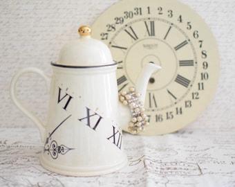 Beige Ceramic Coffee Pot, Chocolate Pot, Whimsical Tea Pot Arthur Wood Made in England