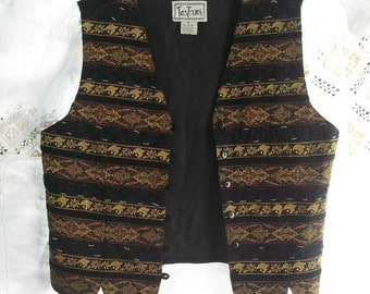 Vintage Vest ~ Boho Hippie Chic / Gold Metallic Woven Trim ~ Button Front