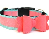 Dog Collar Bow Add-On Felt Bow Dog Accessory Coral Felt Bow