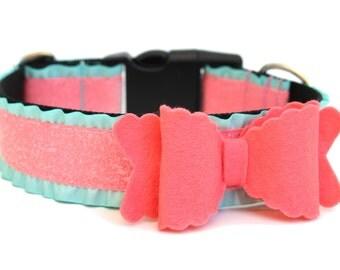 Dog Collar Bow Add-On Felt Bow Dog Accessory Coral Felt Bow