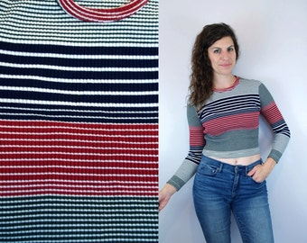 1990s Vintage Cropped Red Green & Blue Long Sleeve Sleeved Striped Blouse / Stretchy Ribbed 90s Belly Shirt Crop Cropped Top / Small Medium
