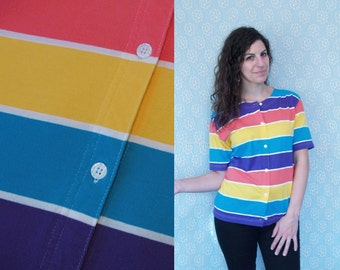 1990s Vintage Multicolored Red, Purple, Teal & Yellow Striped Button-Down Tee T Tshirt T-Shirt / Cotton Jersey Top / OSFM L Large 10 11 12