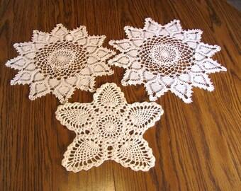 Destash of 3 Crocheted Pineapple Doilies
