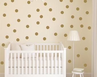 Polka Dot Wall Decal   Gold Dot Decals   Gold Vinyl Dots   Gold Nursery Decor   4-inch Dot Decal