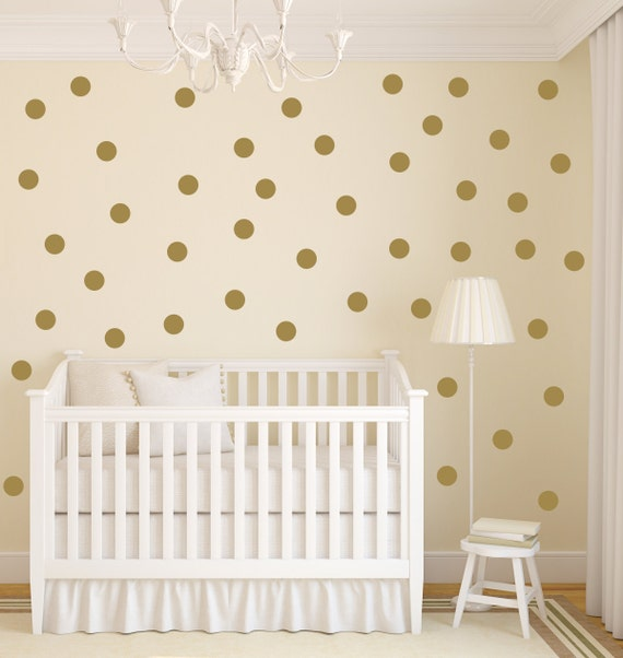 polka dot wall decal gold dot decals gold vinyl dots. Black Bedroom Furniture Sets. Home Design Ideas