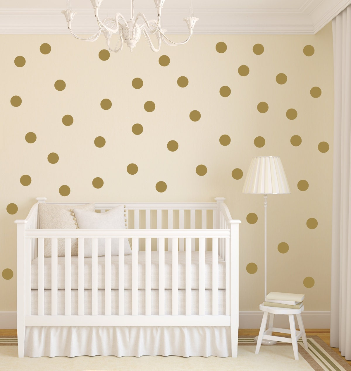 Polka dot wall decal gold dot decals gold vinyl dots for How to make polka dots on wall