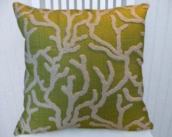 Green Chenille Decorative Pillow Cover---18x18 or 20x20 or 22x22 Embroidered Throw Pillow-Accent Pillow
