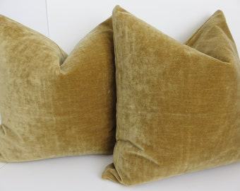 2 Pillow Covers- Pillow Covers 22x22- Velvet Pillow Covers - Set Velvet Pillows -Solid Mustard Pillow Cover - Velvet Mustard Pillow Cover