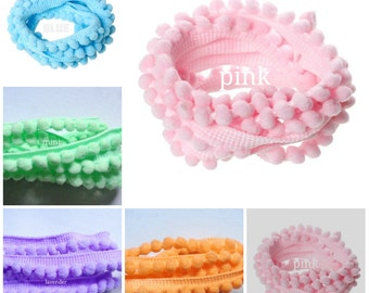 pastel colors Baby Pom Pom Trim 3/8 inch wide select color /price for 1 yard
