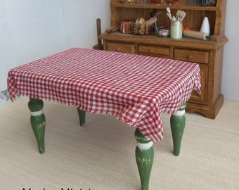 NEW Petite Gingham Dollhouse Table Cloth for 1:12 Scale Miniature Cottage