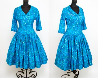 1950s Dress // Blue Watercolor Floral Cotton Drop Waist Full Skirt Dress