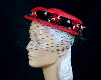 1950s Hat // Red Straw Boater Trimmed with Black Velvet and Sequin
