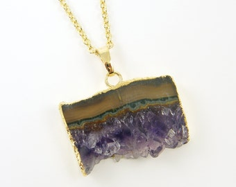 Amethyst Slice Necklace, Geode Pendant Necklace, Raw Amethyst Necklace, Purple Lavender Layered Semiprecious Gemstone Jewelry |NC1-1
