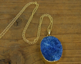 Blue Druzy Pendant Necklace, Cobalt Blue Stone Necklace, Rough Agate Necklace, Gemstone Necklace, Blue Natural Gemstone Jewelry |NC1-15