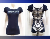 "SMALL - Juniors / Womens Cut Shirt ""CONSCIOUS"" Weaved Navy Blue Top, Yoga Wear, Beach Wear, Club Wear, Zen Wear"