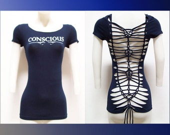 "T-4000 Juniors / Womens Cut Shirt ""CONSCIOUS"" Weaved Navy Blue Top, Yoga Wear, Beach Wear, Club Wear, Zen Wear"