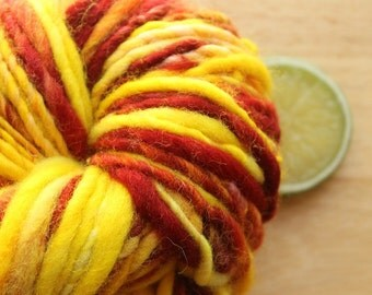 Leaf Pictures - Bulky Handspun Wool Yarn Yellow Red
