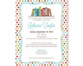 Book Theme Baby Shower Invitation, Bring A Book Invite, Build a Library, Baby Boy, Girl or Gender Neutral, WE or YOU Print, 5X7, Printable