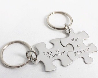 Personalized puzzle piece Necklace or Keychain
