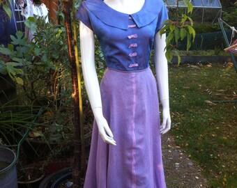 Original Vintage 1940s Shot Silk & Net Dress Mauve and Pink