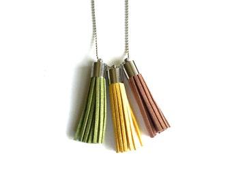 Silver Tassel Nexklace in Brown, Yellow, Green