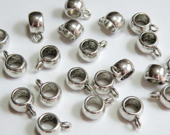 10 Tube Bails with large 5mm hole smooth beads with 2mm loop antique silver European charm 11x8x5mm DB03391