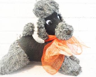 1950's plush poodle black red scarf mid century preppy glam dog shabby