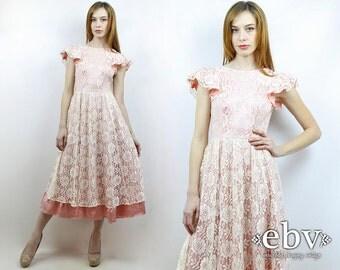 Lace Dress Wedding Dress Bridal Dress Pink Dress Lace Midi Dress Pink Prom Dress Vintage 70s 80s Pink Lace Party Dress XS