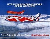 Vintage Airline Poster. Braniff International Airways. Boeing 727 1976 - PRINT