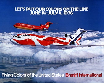 Vintage Braniff Airline Poster. Braniff International Airways. Boeing 727s 1976 - PRINT 8x10