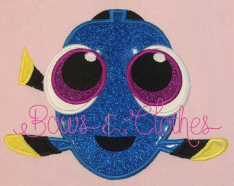 Baby Blue Fish applique embroidery design instant download