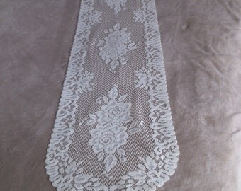 Double Rose Table Runner or Dresser Scarf