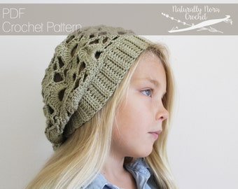 Crochet Pattern: The Louisa Beret -Toddler, Child, & Adult Sizes- lace slouchy beanie hat ribbed