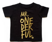 READY TO SHIP Black Boy Mr. Onederful Tee, Classy and Modern Boy Tee, Birthday Boy Tee, Boy First Birthday Shirt